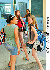 Back to school - Group of young girls going back to school