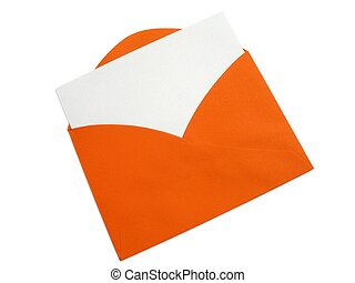 Colorful envelope - 1 - A bright orange envelope with blank...