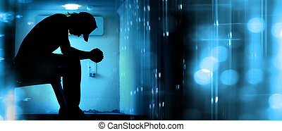 Abstrakcyjny, sylwetka, modlący się