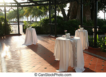 Wedding reception - Tables laid out for a wedding reception