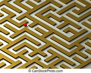 Labyrinth - Lost in the Labyrinth. Maze. 3D image.