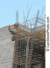Rebar and Cinder Block - Wall construction of concrete...
