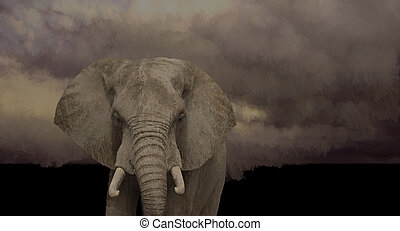 African Elephant - An original 13x24 painting by Larry...