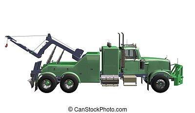 breakdown truck - green breakdown truck white background