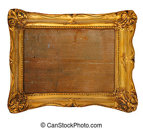 golden frame - old worn out gilded frame isolated on white...