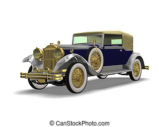 vintage auto - 3D vintage automobile white background
