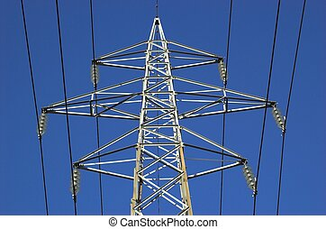Power Mast - The upper part of a power mast with six...