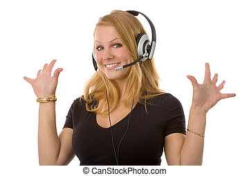 blond woman with headset - the lovely blond woman with...