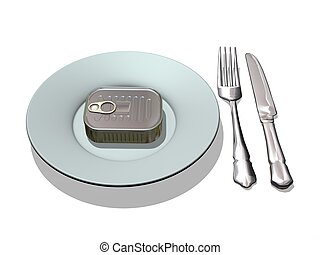 tin can and silverware
