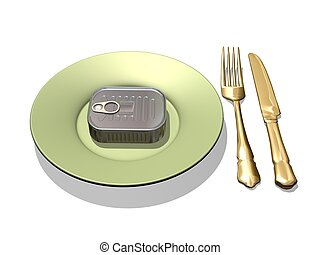 tin can and silverware - image computer illustration 3d tin...