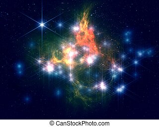 stars and space - colorful stars and space 3D fractal
