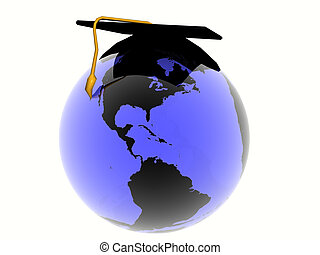 World with hat - Illustration, background of blue glass...