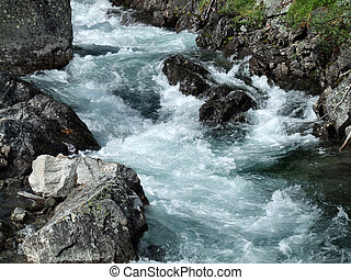 Rapid river in mountains