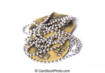 dogtags on white - brass dog tags with silver chain on a...