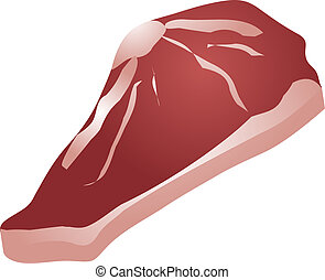 Raw beef steak, food ingredient, 3d isometric illustration