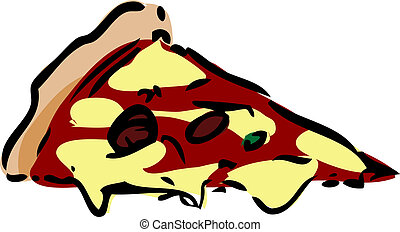 Slice of pizza fast food, hand drawn inked look illustration