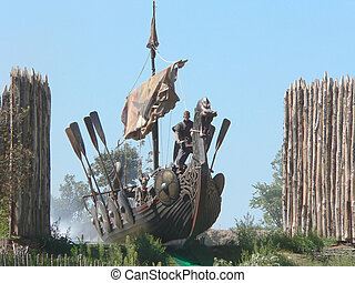 viking ship with oar and sail