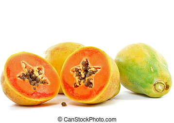 Papaya - Succulent Papaya Fruit on white background