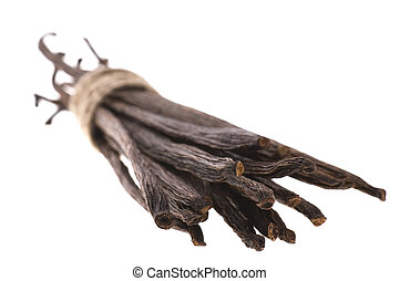 vanilla beans isolated on the white background