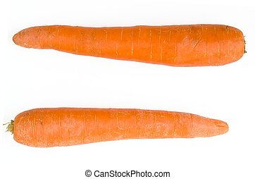 equal sign. fresh orange carrot on a white background