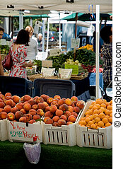 Farmers Market Peaches - Vegetables, fruit and flowers at a...