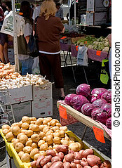 Farmers\\\' Market Shoppers - Some people shopping at a...