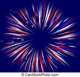 Fireworks on Blue - Vector illustration of fireworks on...