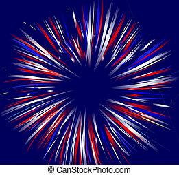 Fireworks on Blue - Vector illustration of fireworks on...