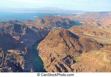 Hoover dam between Nevada and Arizona