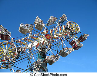 the Zipper ride - Looking skyward at the zipper, an exciting...