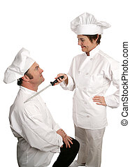 Sir Cooks-a-lot - A humorous photo of a new chef being...
