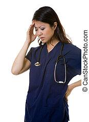Migraine pain - Attractive brunette Asian woman nurse...