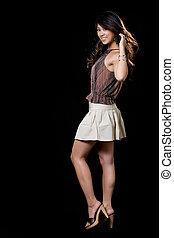 Woman fashion - Full body of beautiful brunette Asian woman...