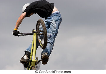 BMX biker Airborne - A BMX (Bicycle Moto-cross(X)) in the...