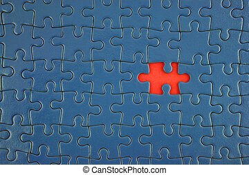 Blue Jigsaw - Close up of a Blue Jigsaw with missing piece...