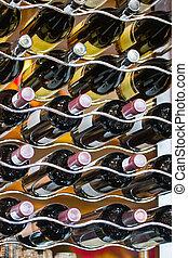 wine bottles - wine rack, stainless steel, wavy form, food...