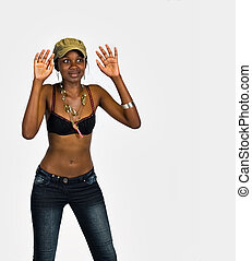 Astonished African woman - Surprised young African woman,...