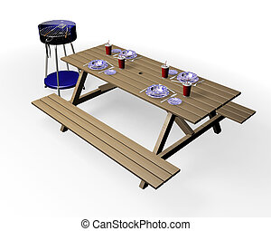 Barbecue items - 3D render of barbecue and wooden bench with...