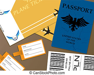 check-in - Illustration of all the documents that you would...
