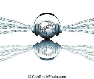 Digital music - 3D render of a globe with headphones