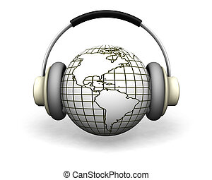 World music - 3D render of a globe with headphones