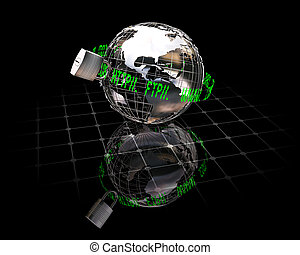 Internet security - 3D rendered conceptual image depicting...