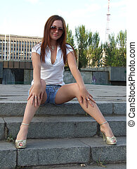 beautiful young sexual girl sitting on the stairs 3