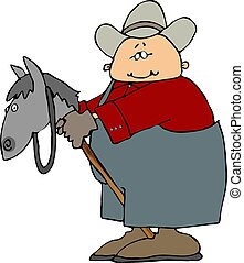 Man On A Stick Horse - This illustration depicts a man...