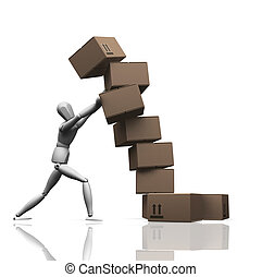 Falling boxes - 3D render of a man holding up a stack of...