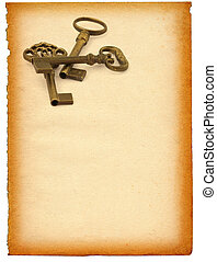 keys against paper - sheet of old paper with retro...