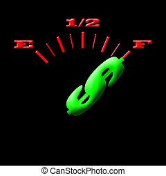 gas gauge money - Gas gauge concept bright colors on a black...