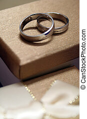 Wedding Rings - A pair of wedding bands on top of gift...