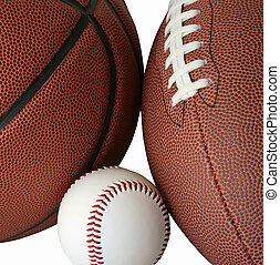 Balls - Baseball, Football and Basketball Isolated on White...
