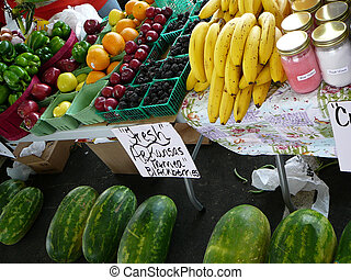 Farmers Market - Fruits and vegetables at a farmers market.